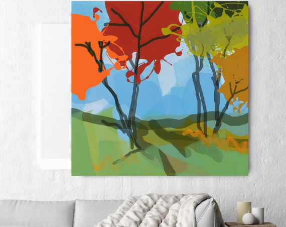 "Abstract Forest. Huge Rustic Landscape Painting Canvas Art Print, Large Green Blue Red Orange Canvas Art Print up to 50"" by Irena Orlov"