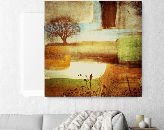 "Huge Rustic Landscape Painting Canvas Art Print, Extra Large Beige Brown Green Blue Canvas Art Print up to 50"" by Irena Orlov"