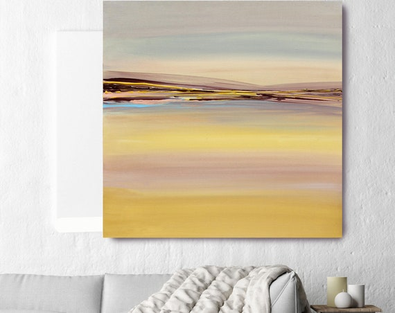 "Color Symphony. Huge Rustic Landscape Painting Canvas Art Print, Extra Large Yellow Brown Blue Canvas Art Print up to 50"" by Irena Orlov"