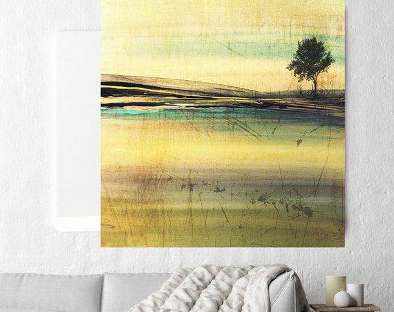 """Huge Rustic Landscape Painting Canvas Art Print, Extra Large Yellow Green Canvas Art Print up to 50"""" by Irena Orlov"""