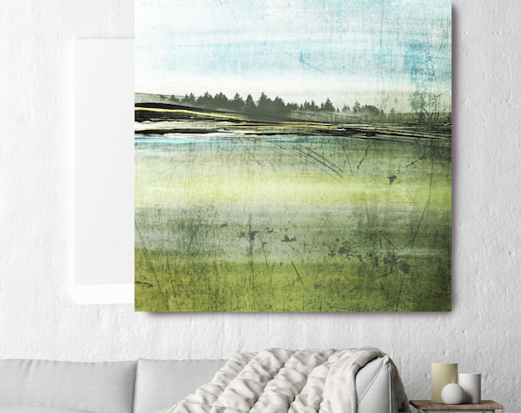 "Summer Forest. Huge Rustic Landscape Painting Canvas Art Print, Extra Large Blue Green Yellow Canvas Art Print up to 50"" by Irena Orlov"