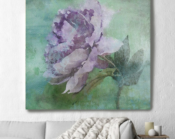 "A Quiet Moment. Rustic Floral Painting, Green Turquoise Pink Lavender Rustic Large Floral Canvas Art Print up to 48"" by Irena Orlov"