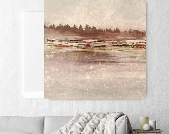 "Nature. Huge Rustic Landscape Painting Canvas Art Print, Extra Large Beige Brown Canvas Art Print up to 50"" by Irena Orlov"