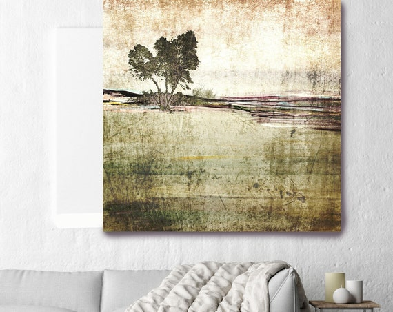 "Huge Rustic Landscape Painting Canvas Art Print, Extra Large Beige Green Canvas Art Print up to 50"" by Irena Orlov"