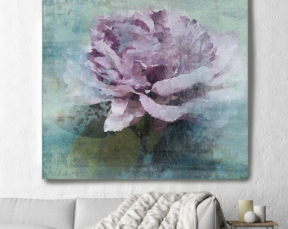 "Purple Majesty. Rustic Floral Painting, Green Turquoise Pink Lavender Rustic Large Floral Canvas Art Print up to 48"" by Irena Orlov"