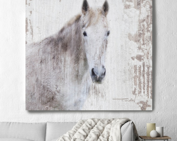 "White Beauty Rustic Horse Photographic Print. Farmhouse White Rustic Horse, Large Contemporary Canvas Art Print up to 48"" by Irena Orlov"