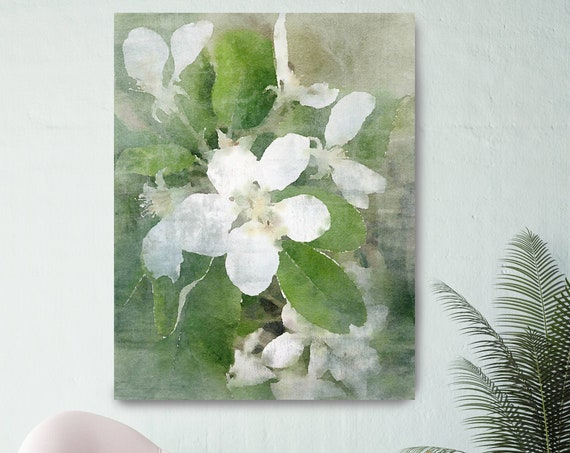 Blooming White Flowers, White Flower Print Shabby Chic Wall Decor, Cottage Style Floral Art Blooming Flowers, Watercolor Flower Canvas Print