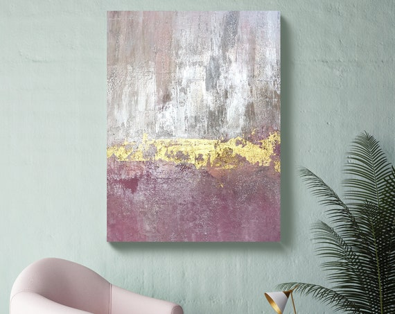 Gold Pink Silver Abstract Painting Gold Pink Modern Art Abstract Painting Extra Large Gold Silver Painting Extra Large Abstract Canvas Print
