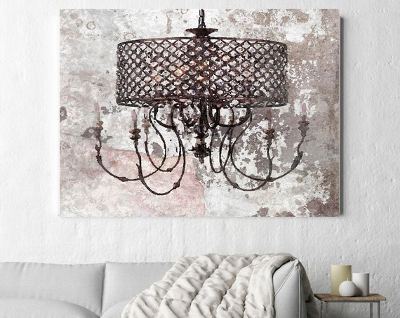 Rustic Brown Chandelier, Chandelier painting, Shabby Chic chandelier, Brown Chandelier Canvas Print, Chandelier Wall Decor Light Brown White
