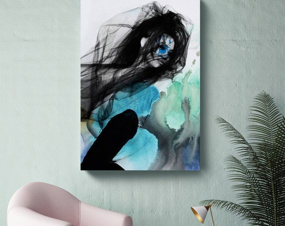 """Blue Butterfly 8, Figurative Mixed Media Contemporary Blue Black Woman Canvas Art Print up to 72"""" by Irena Orlov"""