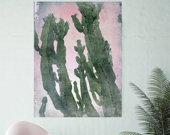 Desert Cactus, Succulent Art Print, Watercolor, Succulent Painting, Green Painting, Cactus Watercolor Painting, Tropical Canvas Print