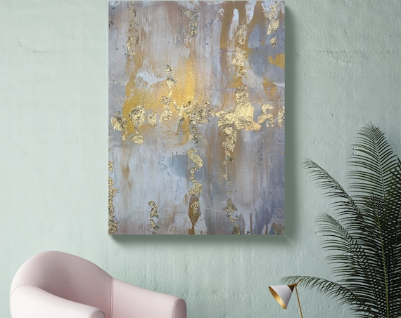 Silver to Gold Abstract Painting Gold art abstract painting wall art Extra Large Gold Silver Painting Extra Large Abstract Canvas Print