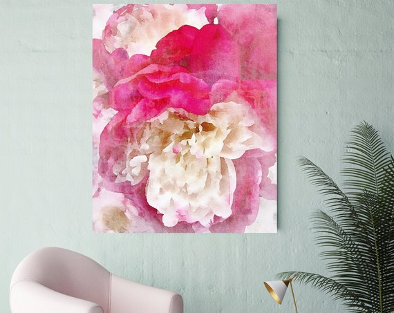 Pink Peony Watercolor Painting Print, watercolor peony, watercolor floral, peony canvas print, peony gift, Blushing Beauty shabby chic