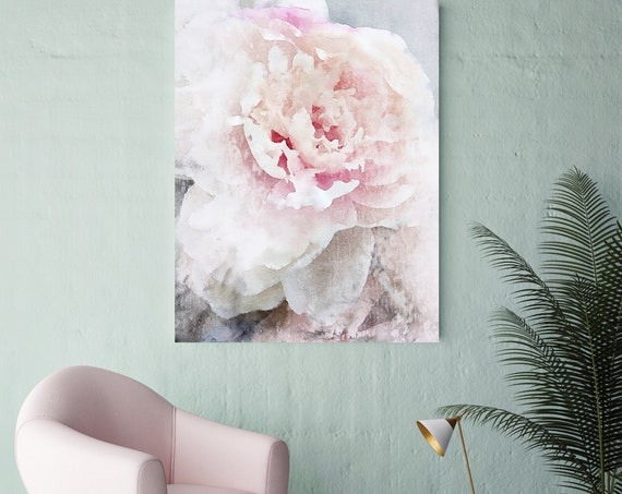 Peony Painting Blush Pastel Pink Bedroom Decor, Peony Flower Canvas Print, Gift For Her, Wedding Gift Art, Peony Art, Peony Wall Decor