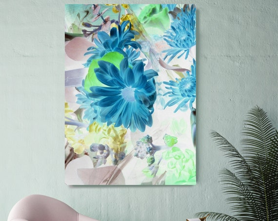 Dazzling Delight. Floral Painting, Blue Floral Art, Wall Decor, Blue Floral Painting, Blue Floral Canvas Print