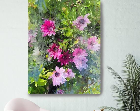 True Colors Floral PINK bloom, Flowers painting pink art, floral art shabby chic Pink Floral Art Watercolor Pink Rustic Flowers Canvas Print