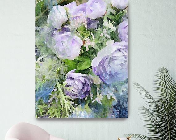 Morning Sunrise Purple Flowers Floral Watercolor Painting Print watercolor painting floral canvas print shabby chic Roses canvas print
