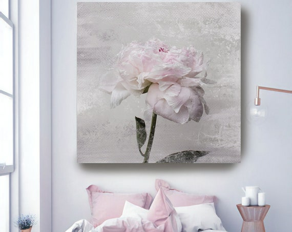 """Romantic Pink Gray Peony - Shabby Chic 8-3. Peonies, Pink, Pink Floral Fine Art Photograph, Still Life, Large Wall Art up to 50"""""""
