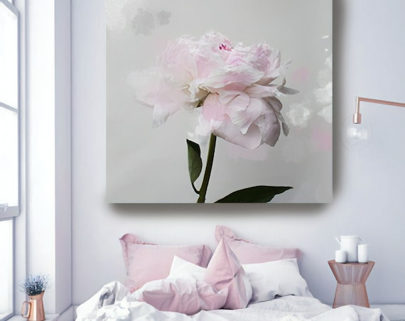 """Romantic Grey Pink Peony Splash 3. Peonies, Pink, Pink Floral Fine Art Photograph, Still Life, Large Wall Art up to 50"""""""