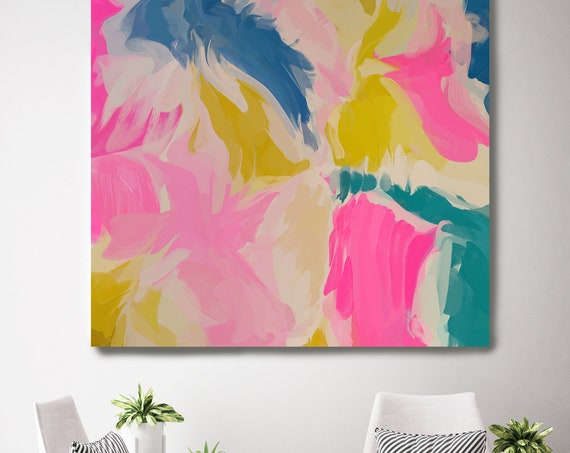 "Reflections Of Secrets 2, Art Abstract Print on Canvas up to 50"", Blue Pink Green Abstract Canvas Art Print by Irena Orlov"