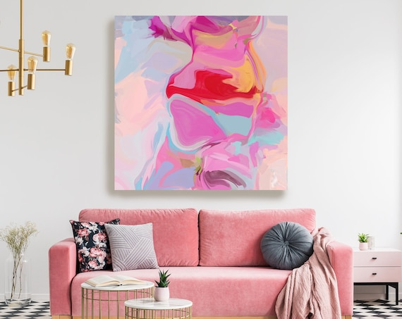 Large Abstract Painting, Modern Abstract Painting,Pink Blue Canvas Print, Abstract Painting Canvas Print, Chilean plum