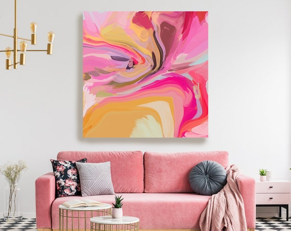 Pink Abstract Fine Art Canvas, Abstract Art, Contemporary Art, Modern Hot Pink Painting, Expressionism Canvas Print, In light of fate