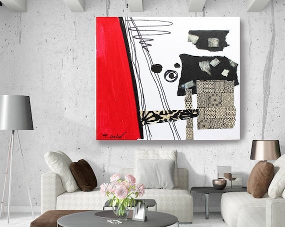 "Touch of Modern IV. Geometrical Abstract Art, Wall Decor, Large Abstract Red Contemporary Canvas Art Print up to 48"" by Irena Orlov"