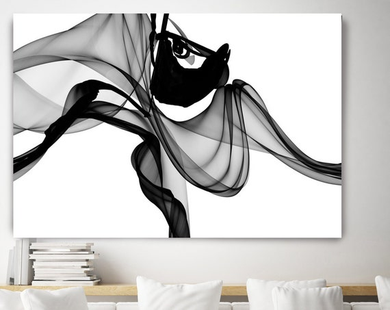 Black and White Minimalist Art, Abstract Art, Black White Giclee, Black Painting Canvas, Modern Home Decor, Canvas Art Print