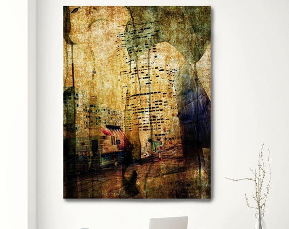 "City night lights. Architectural Rustic Green Beige Canvas Art Print up to 72"" by Irena Orlov"