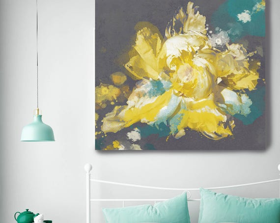 """ORL-9986 Breathless 26. Extra Large Floral Fine Art Teal Yellow Canvas Print up to 48"""", Contemporary Floral Wall Decor by Irena Orlov"""
