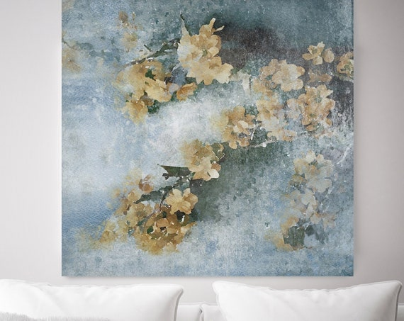 Spring Cascade. Blue Yellow Rustic Floral Painting, Rustic Large Floral Canvas Art Print, Vintage Floral Painting