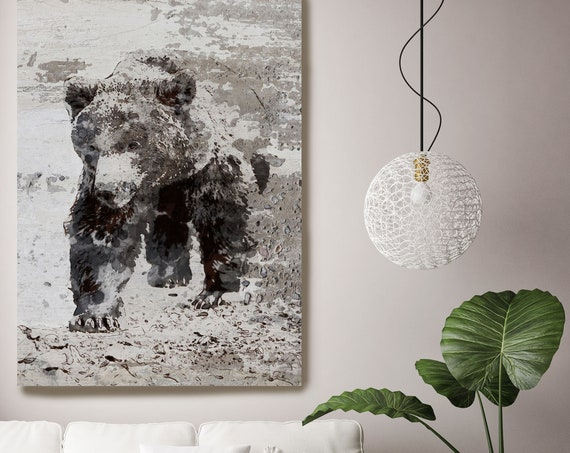 "Brown Bear Walking, Art Large Canvas, Bear Art, Black Brown Rustic Bear, Rustic Vintage Bear Wall Art Print up to 81"" by Irena Orlov"