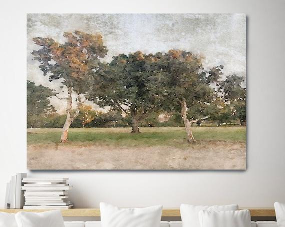 "landscape painting, landscape watercolor, landscape art print, rustic landscape, Canvas Print, ""November Morning Mist 4"" Irena Orlov"