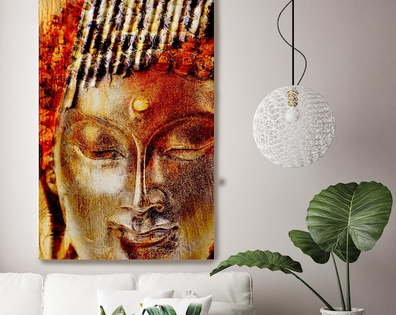 "Buddha.Gold Large Buddha Canvas Print, Yellow Red Buddha Canvas Art Print up to 96"" by Irena Orlov"