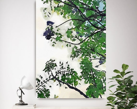 Summer Loving, landscape painting, green blue landscape art  landscape watercolor- Irena Orlov - Watercolor Canvas Art Print up to 72""