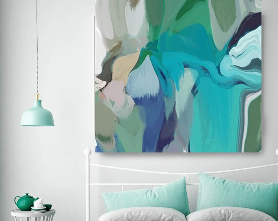 """Wild Blue Green. ORIGINAL LARGE Abstract Painting, Custom Extra Large Painting Blue Wall Art Oil Painting up to 50"""" by Irena Orlov"""