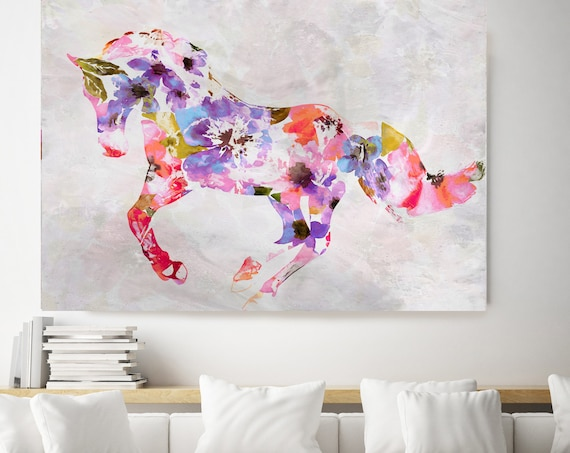 Colorful Abstract Floral Horse BOHO Mixed Media Horse Painting Canvas Print BOHO Floral Horse Art Large Canvas, Painted Horse Boho Wall Art