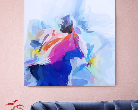 "Fantasy Of The Good Life, Art Abstract Print on Canvas up to 50"", Blue Pink White Yellow Abstract Canvas Art Print by Irena Orlov"