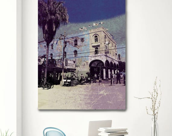 """Afternoon at Venice Beach 6. Extra Large Architectural Cityscape Canvas Art Print. Rustic URBAN Canvas Art Print up to 72"""" by Irena Orlov"""
