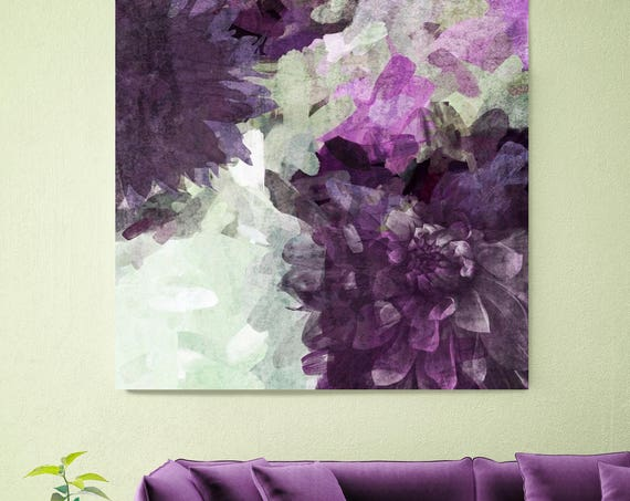 "Floral Branch 5450. Rustic Purple Floral Canvas Art Print, Purple Green Rustic Modern Huge Canvas Art Print up to 48"" by Irena Orlov"