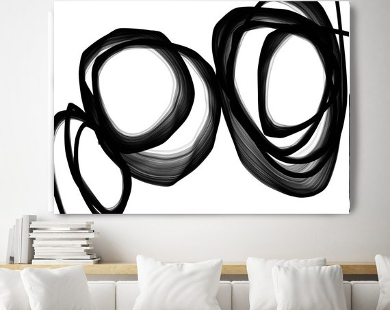 "Abstract Expressionism 40H x 60W"" Original New Media Black White Painting on Canvas, Minimalist Large Abstract Painting, INVEST IN ART"