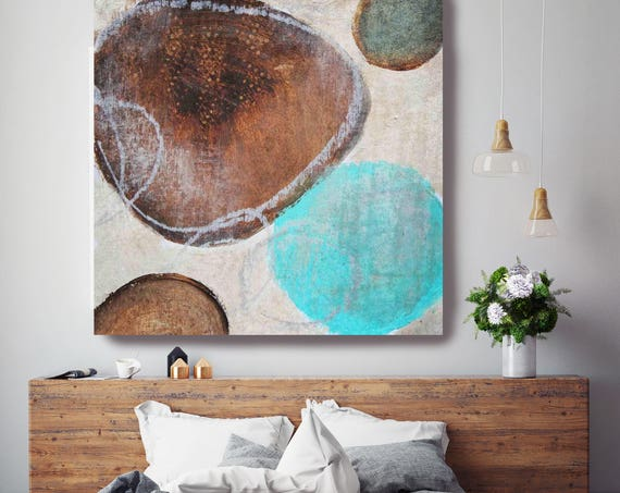 "Moonlight. Brown Blue Rustic Abstract Art, Wall Decor, Extra Large Abstract Colorful Contemporary Canvas Art Print up to 48"" by Irena Orlov"