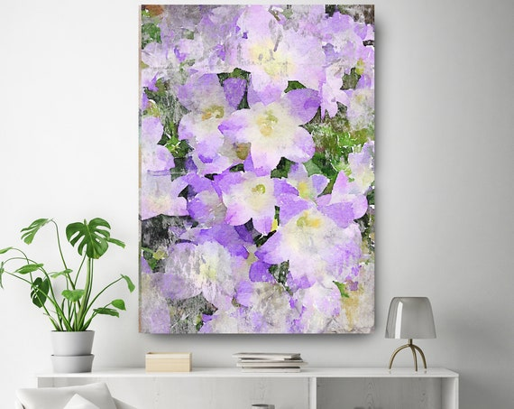 Rustic Purple Flowers 1 Vintage Flower Watercolors Painting Canvas Print Purple Flower Watercolors Painting Canvas Art Print up to 72""