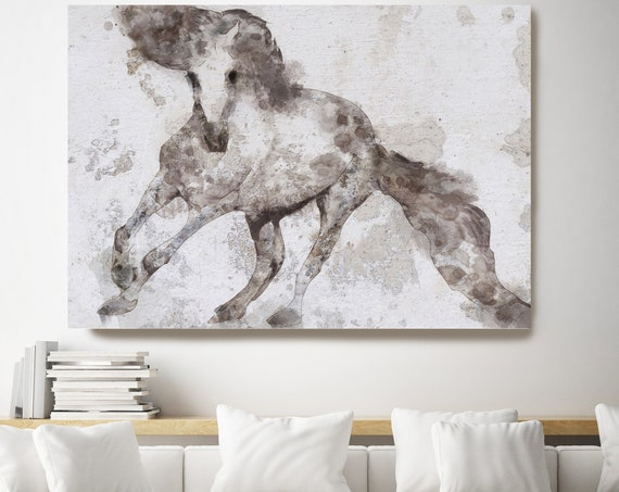 Alydar Horse. Large Horse, Horse Wall Decor, White Brown Rustic Horse, Western Horse art, large horse canvas print, large horse canvas