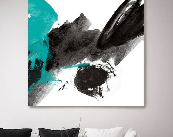 "My spirit cries out loudly. Black Teal Abstract Paintings Art, Extra Large Abstract Colorful Canvas Art Print up to 48"" by Irena Orlov"