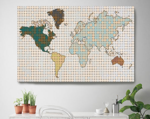 Minimalist World map, Huge world map, Pixel World Map, Industrial art, Cottage wall, Map canvas art print, Green Beige map, Map on canvas