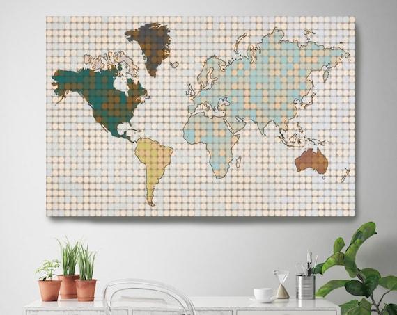 Minimalist World map, Huge world map, Pixel World Map, Industrial art, Cottage wall, Map canvas art print, Green Beige map, Map on canvas