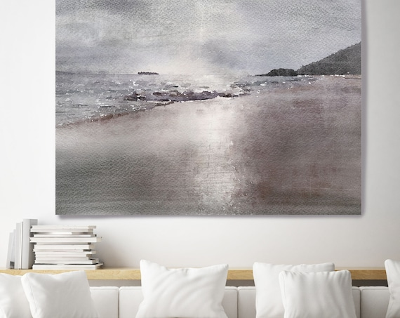 "Beach. Huge Rustic Coastal Beach Painting Canvas Art Print, Large Purple Brown Gray Canvas Art Print up to 80"" by Irena Orlov"