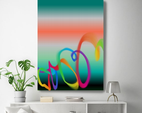 """Storm of Creation 59 Neon Colors New Media Art Orange Green Abstract Canvas Print Extra Large Abstract Canvas Print up to 90"""" by Irena Orlov"""