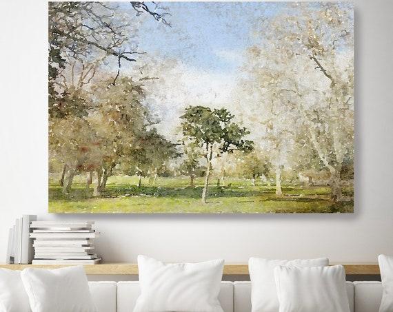 landscape painting, landscape watercolor, landscape art print, rustic landscape Canvas Print, Rural Landscape, Painting Forest, soft light